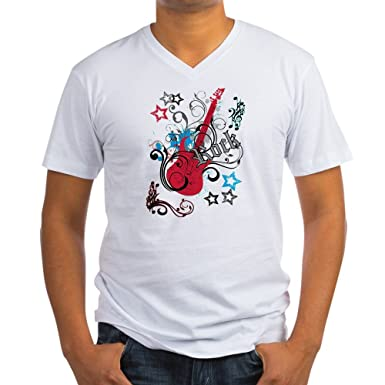 59211ccf Amazon.com: Royal Lion Men's V-Neck T-Shirt Rock Guitar Music Notes ...