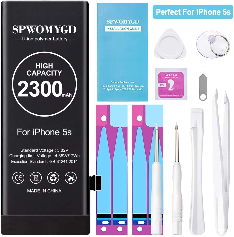 2300mAh SPWOMYGD Upgraded High Capacity Battery for iPhone Model 5S / 5C 0 Cycle Replacement Battery Compatible with iPhone 5S / 5C, with Professional Easy Repair Tool Kit and Instruction