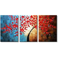 Winpeak Art Hand-painted Abstract Oil Painting Modern Plum Blossom Artwork Floral Canvas Wall Art Hangings Stretched And Framed