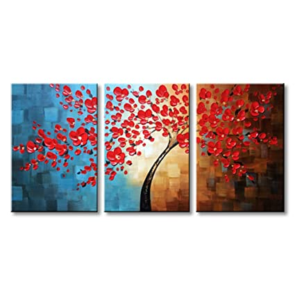 Amazon.com: Winpeak Art Hand Painted Red Flower Oil Painting Modern ...