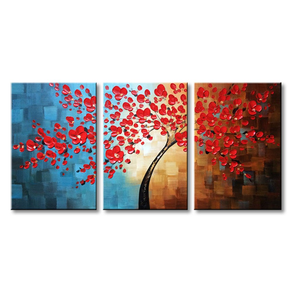 Winpeak Art Huge Hand-painted Abstract Oil Painting Modern Plum Blossom Artwork Floral Canvas Wall Art Hangings Stretched And Framed (72''W x 36''H (24''x36'' x3pcs), Red)