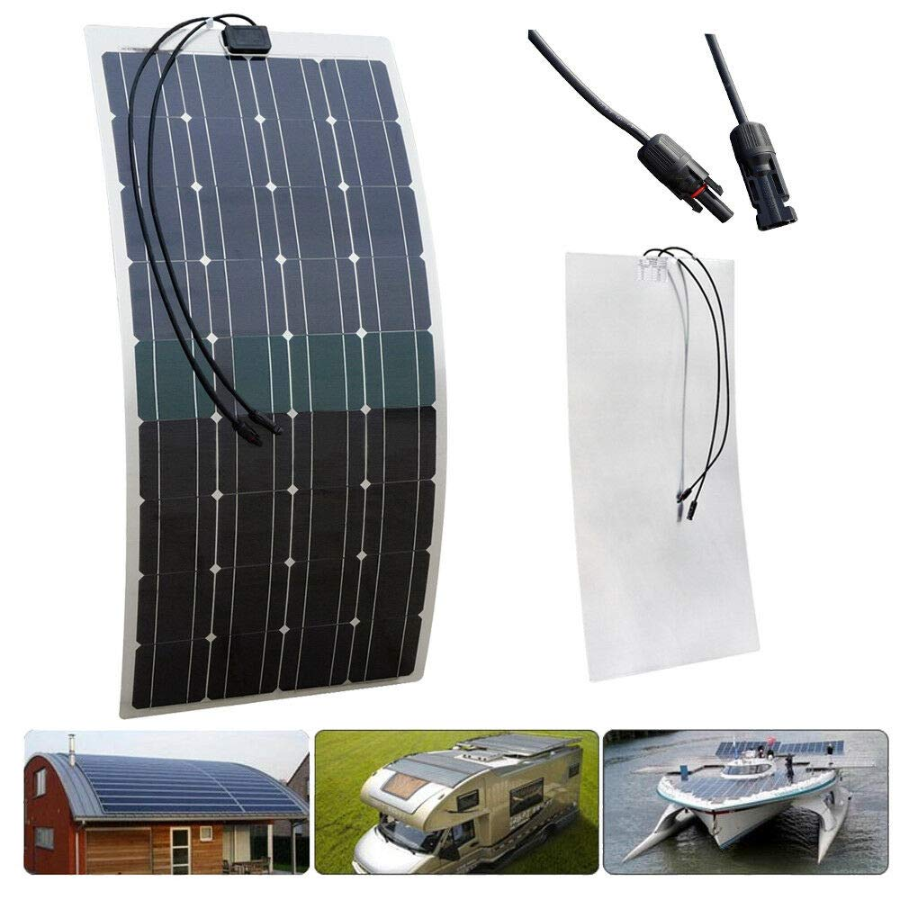Caravan Roof Motorhome RV,Car,Tent ECO-WORTHY 100W 18V 12V Flexible Ultra-Light Mono PV Solar Panel with two 90cm Cable with Connector for 12V Battery Charge up to 30 Degree Arc on Marine Boat