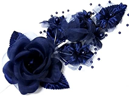 Amazon 3 navy blue silk flowers pearl organza corsages 5x 3 navy blue silk flowers pearl organza corsages 5quotx 25quot mightylinksfo
