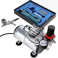 Timbertech Airbrush-set met compressor met krachtige luchtstroom en luchtdruk, basisairbrush-compressor, Double Action…