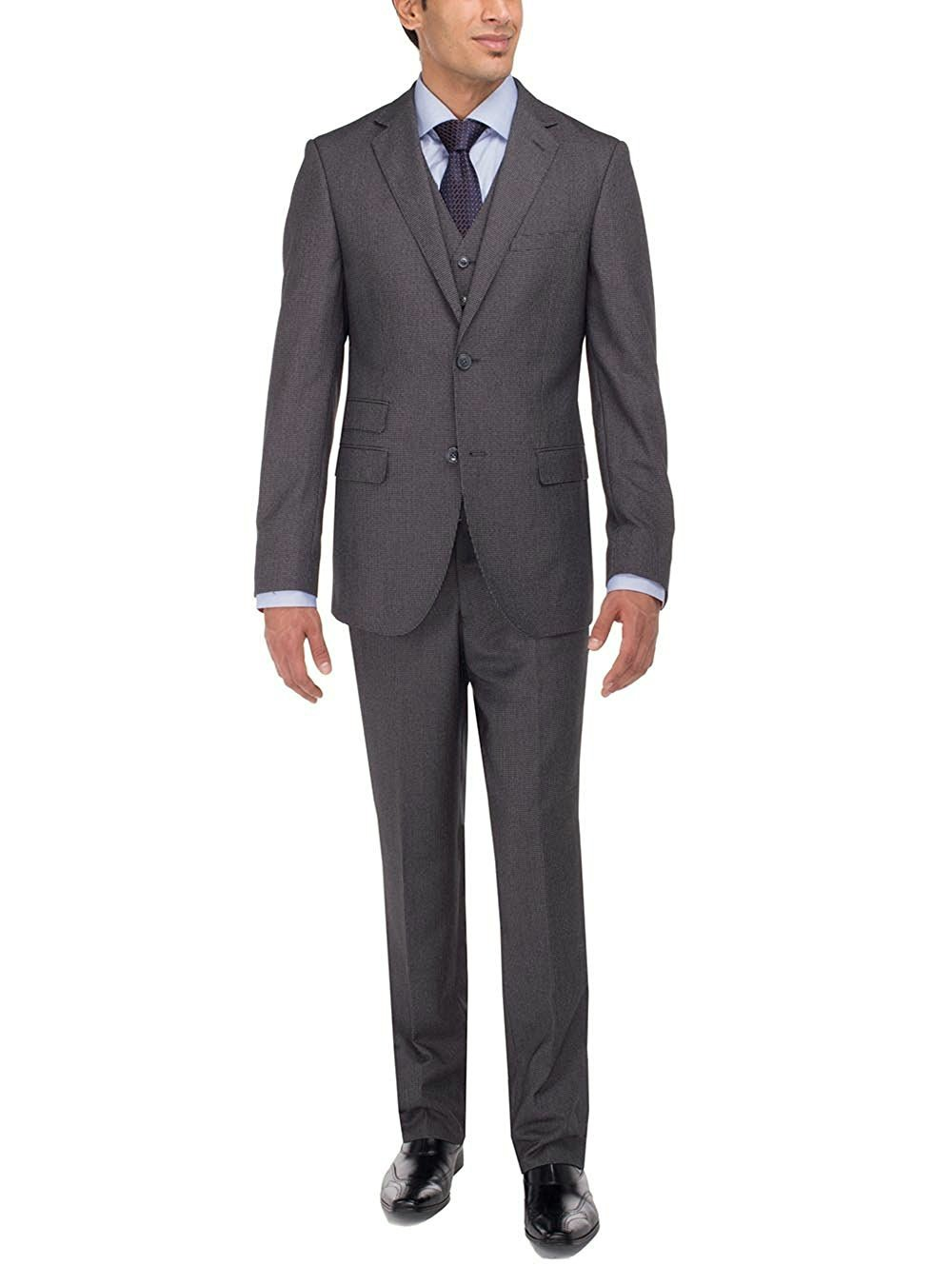 Luciano Natazzi Men's Two Button Tweed 3 Piece Modern Fit Vested Suit (46 Regular US / 56 Regular EU, Charcoal)
