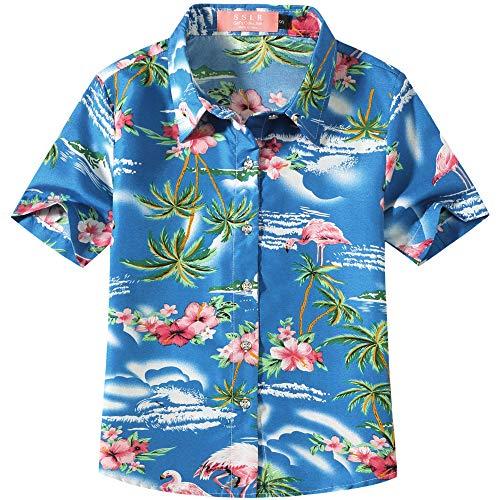 SSLR Big Girl's Flamingos Casual Button Down Short Sleeve Hawaiian Shirt (Small(7-8), -