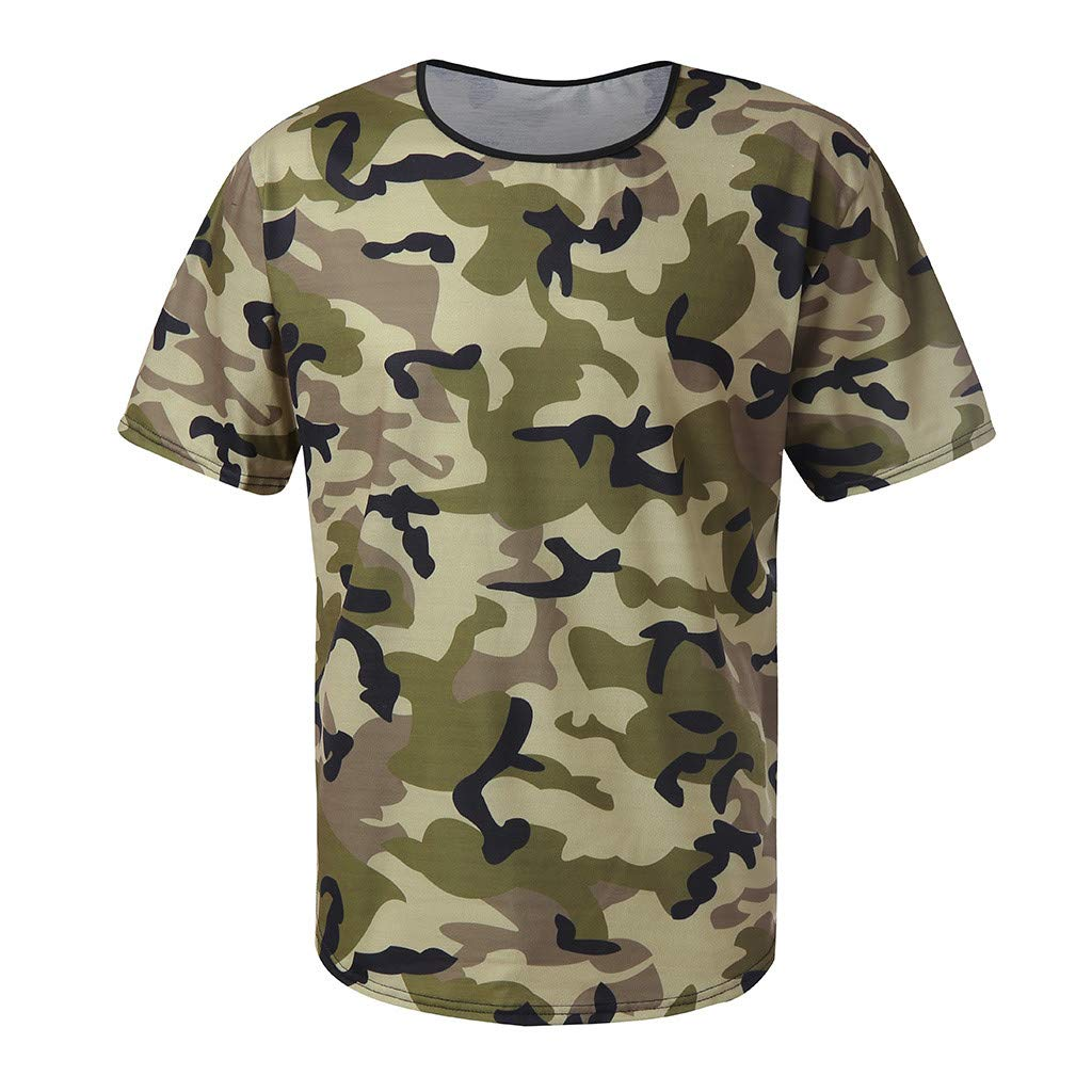 Casual Tops for Men Camouflage Compression Slim Fit Simple T-Shirt Boys Fitness Elastic Shirts Tees by Gibobby