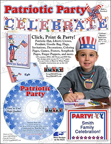 Scrapsmart - Patriotic Party Software Kit - Jpeg, Pdf, and Microsoft Word Files (CDPATPA170) by STORE SMART