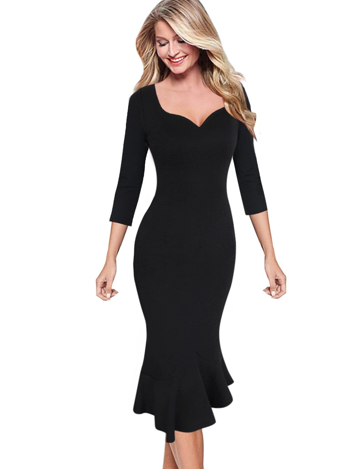 VfEmage Womens Elegant Vintage Cocktail Party Mermaid Midi Mid-Calf Dress 9210 BLK 14