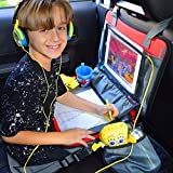 """Kids Travel Tray 3 in 1 - Car Seat Travel Play Tray (16""""x12"""") Waterproof Storage Organizer activity lap tray, Carry Bag & Tablet IPad Holder FREE EXTRA - Crayons (12 Pack) + Car Sticker, Autozon"""