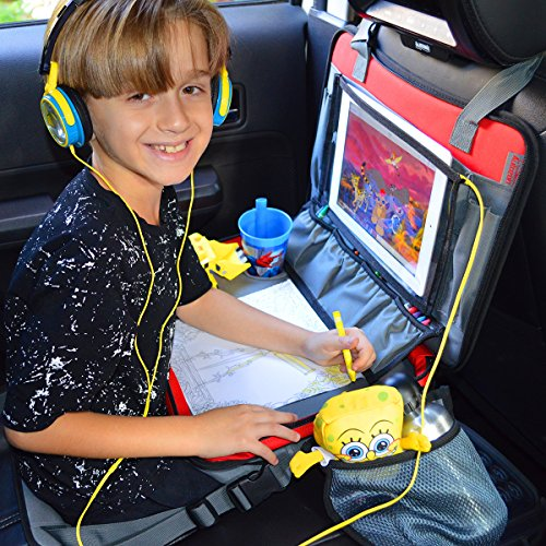 "Kids Travel Tray 3 in 1 - Car Seat Travel Play Tray (16""x12"") Waterproof Storage Organizer Activity Lap Tray, Carry Bag & Tablet IPad Holder Free Extra - Crayons (12 (Booster Infant Ball)"