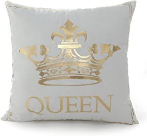 FASHIONDAVID 18 18 Inch Gold Queen Crown Home Bronzing Flannel Throw Pillow Cover Golden King Queen Crown Geometric Line Pattern Cushion Covers Sofa Home Decor
