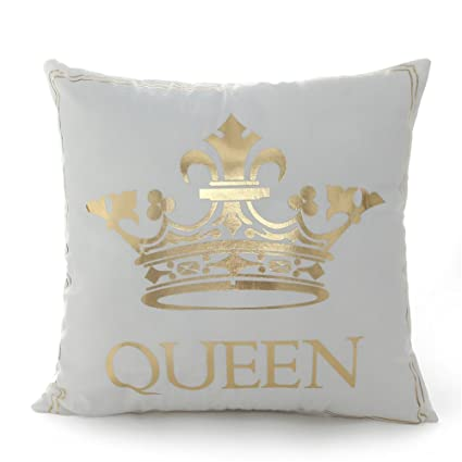 Amazon 40 40 Inch Gold Queen Crown Home Bronzing Flannel Throw Awesome King And Queen Decorative Pillows