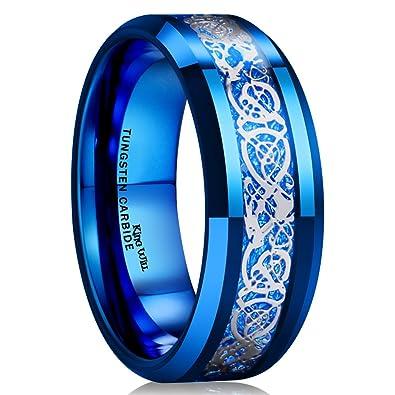King Will DRAGON Men Women 8mm Tungsten Carbide Ring Blue Carbon