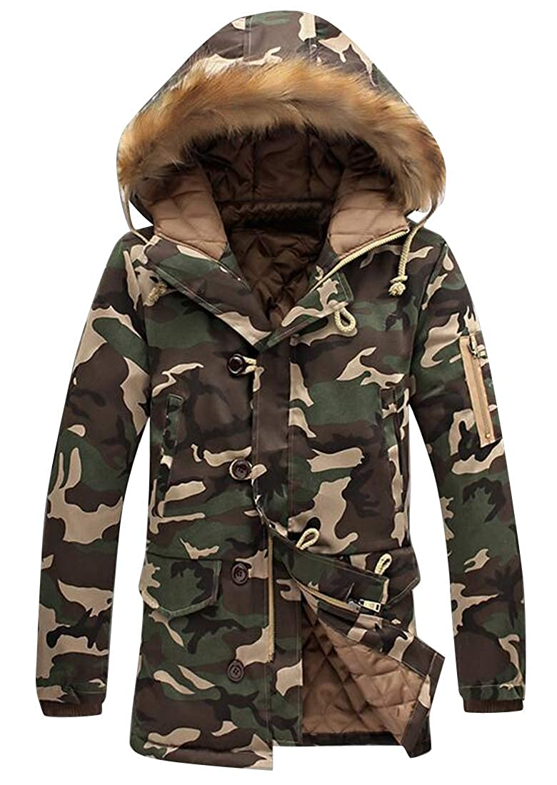 MOUTEN Men Camo Print Plus Size Hooded Warm Winter Down Quilted Jacket Coat Parka