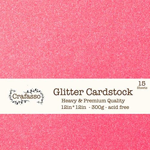 Crafasso 12 x 12 300gms Heavy & Premium cardstock, 15 Sheets, hot Pink