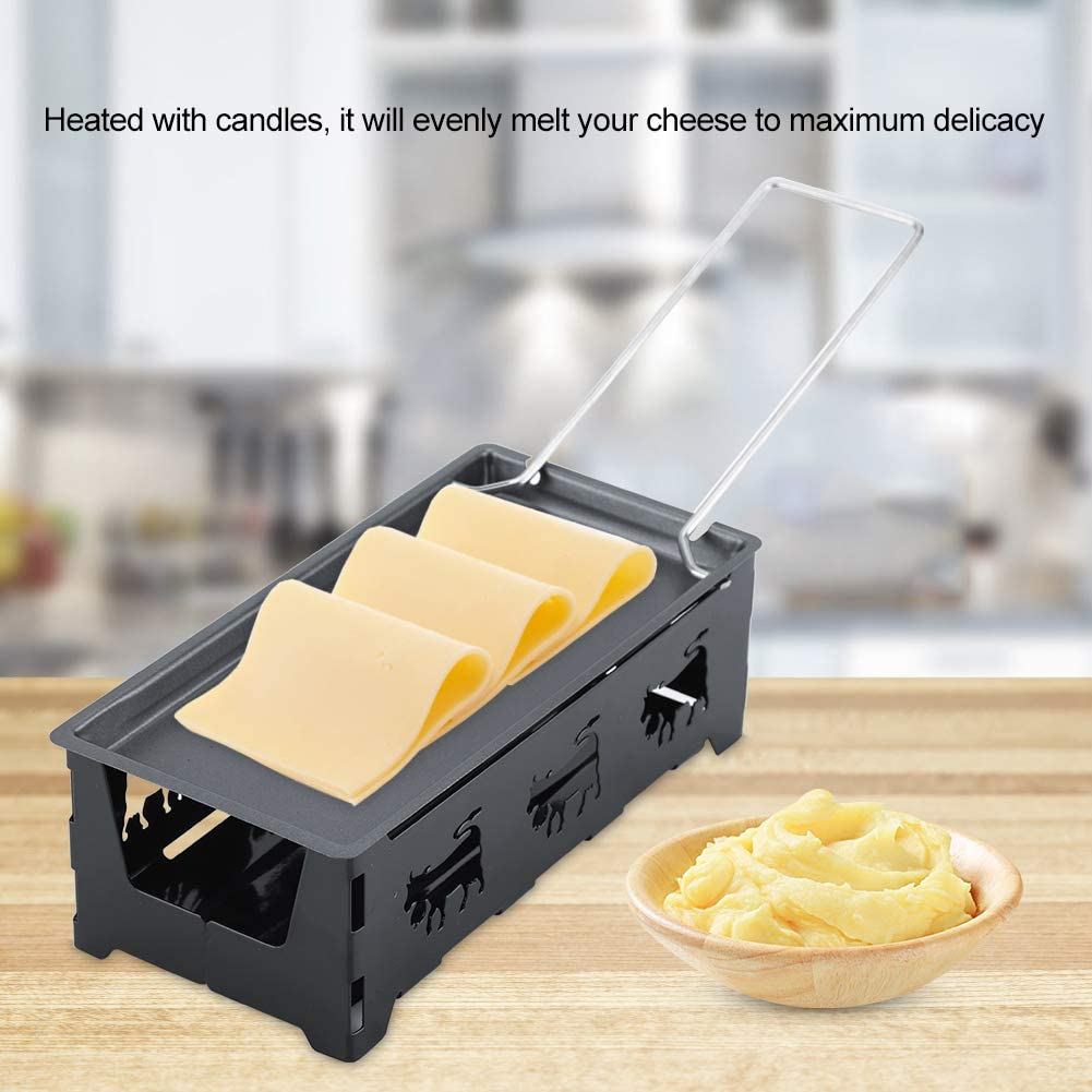GOTOTOP Black Portable Non-Stick Cheese Raclette Rotaster Baking Tray Stove Set Home Kitchen Grilling Tool