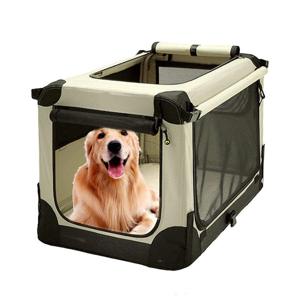 L Awhao Portable Pet Bag Folding Fabric Pet Carrier Pet Washable House Kennel Mat with Mental Stents