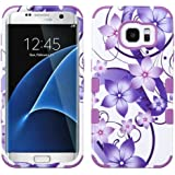 Asmyna Cell Phone Case for Samsung Galaxy S7 Edge - Purple Hibiscus Flower Romance/Electric Purple