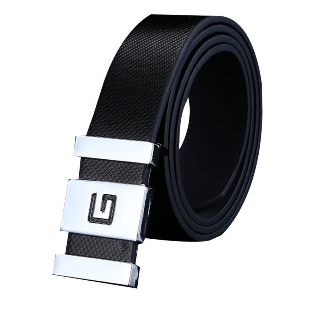 Men Belt, Dingji Men Automatic Buckle Leather Waist Strap Belts Buckle Belt Jeans (Black)