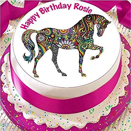 Groovy Cheerful Horse Brightly Patterned 19 Cm Round Fondant Icing Edible Personalised Birthday Cards Xaembasilily Jamesorg