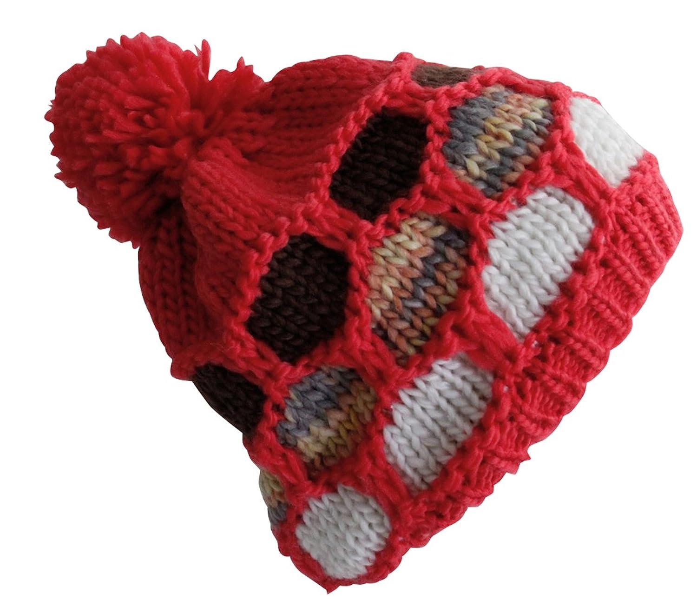 Attleya, Damen, Herren, Mütze, Unisex, Wintermütze, Rot, Grau, Kunstfell, 100% Acryl, Ski-Mütze mit Bommel