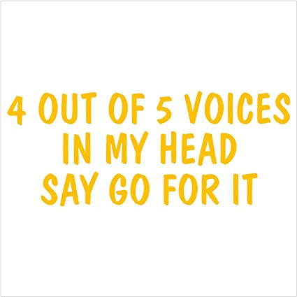 4 Out Of 5 Voices In My Head Say Go For It Bumper Sticker Vinyl