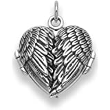 Genuine 925 Sterling Silver Angel wings locket Necklace on 18