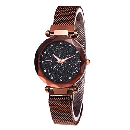 Amazon.com: AlexGT Women Quartz Watch Starry Sky Rhinestone Leisure Net Chain Watch Magnet Stone Bell Glass Mirror Ladies Watch: Electronics
