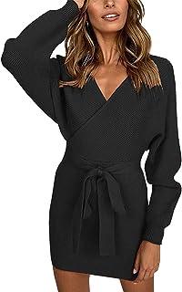 402d6b31b70 Meenew Women s Long Sleeve Open Back Wrap Bodycon Mini Sweater Dress ...