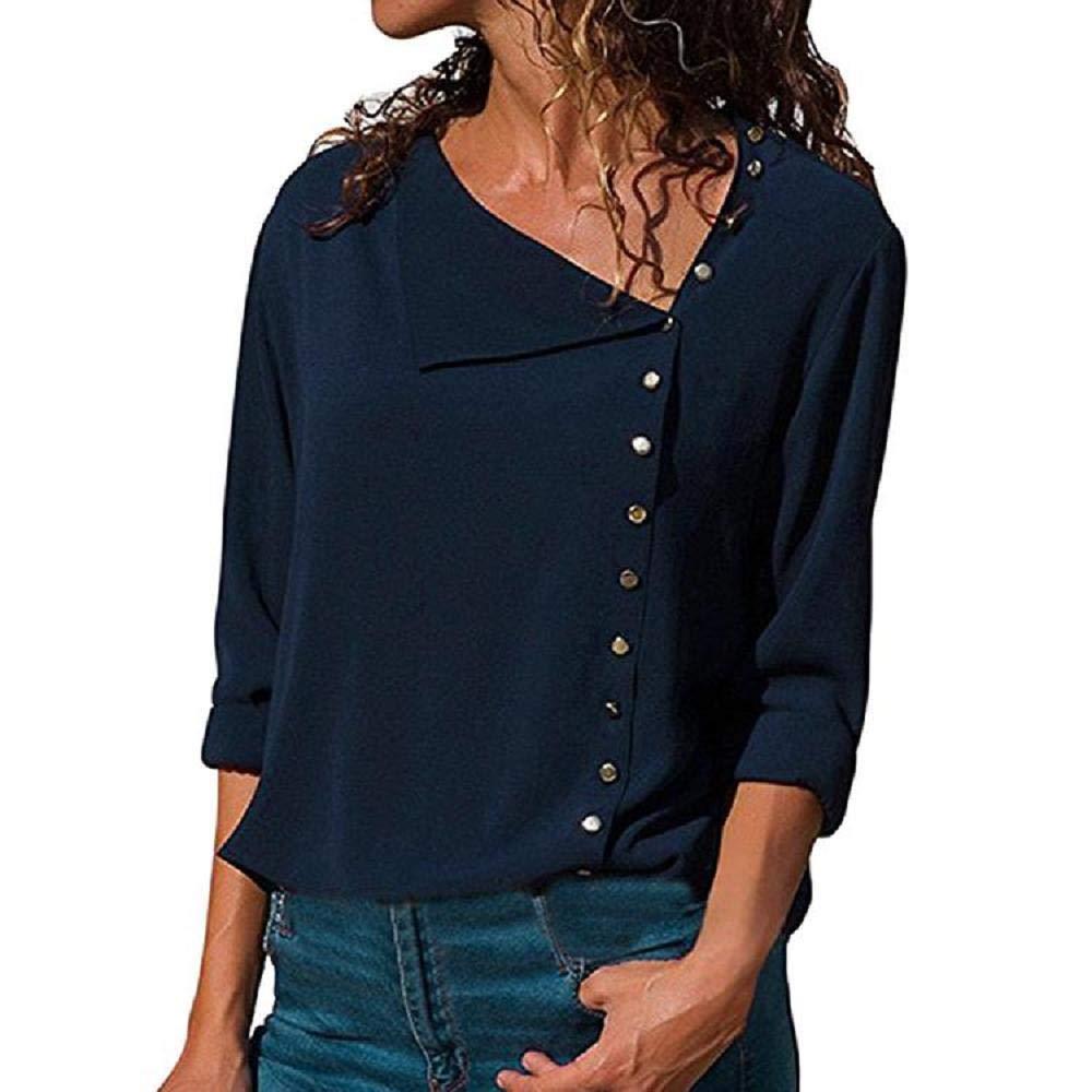 VECDY Camiseta De Solapa Casual para Mujer Gemelos Largos para ...