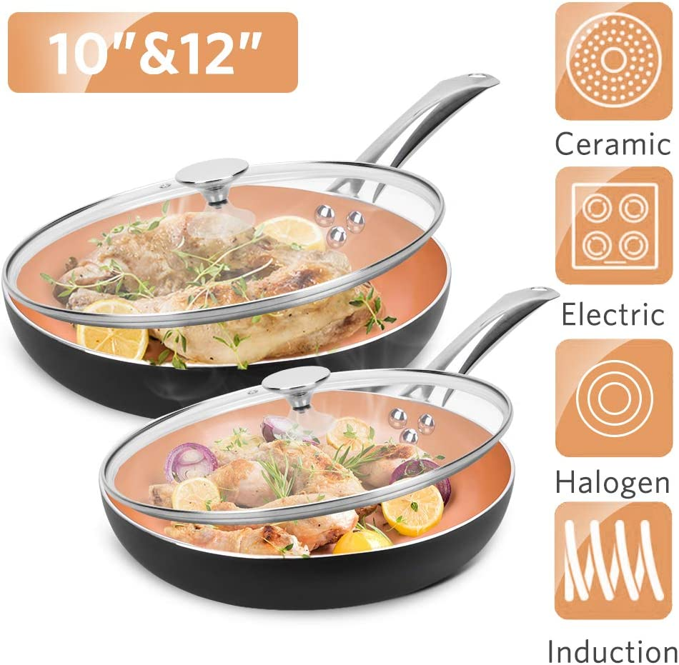 "10""+12"" Nonstick Frying Pan Sets with Lids - Ultra Nonstick Cookware Sets with Ceramic Coating, 100% APEO & PFOA-Free, Oven Safe & Induction Available Skillets, Stainless Steel Handle, Aluminum Alloy"