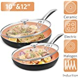 """10""""+12"""" Nonstick Frying Pan Sets with Lids - Ultra Nonstick Cookware Sets with Ceramic Coating, 100% APEO & PFOA-Free…"""
