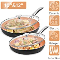 """10""""+12"""" Nonstick Frying Pan Sets with Lids - Ultra Nonstick Cookware Sets with Ceramic Coating, 100% APEO & PFOA-Free, Oven Safe & Induction Available Skillets, Stainless Steel Handle, Aluminum Alloy"""
