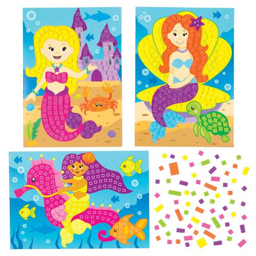 Mermaid Mosaic Sticker Picture Kits for Children to Design Make and Display - Creative Summer Craft Set for Kids (Pack of 4) -