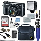 Canon PowerShot G7 X Mark II 20.1MP 4.2x Optical Zoom Digital Camera Video Creator Kit + LED Flash Light + 64GB Memory Card + Deluxe Camera Case + Spider Tripod + Premium Accessories Bundle