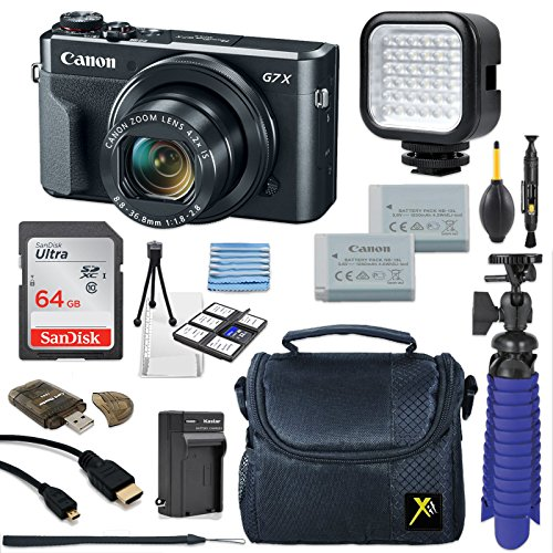 Canon PowerShot G7 X Mark II 20.1MP 4.2x Optical Zoom Digital Camera Video Creator Kit + LED Flash Light + 64GB Memory Card + Deluxe Camera Case + Spider Tripod + Premium Accessories Bundle by Eternal Photo