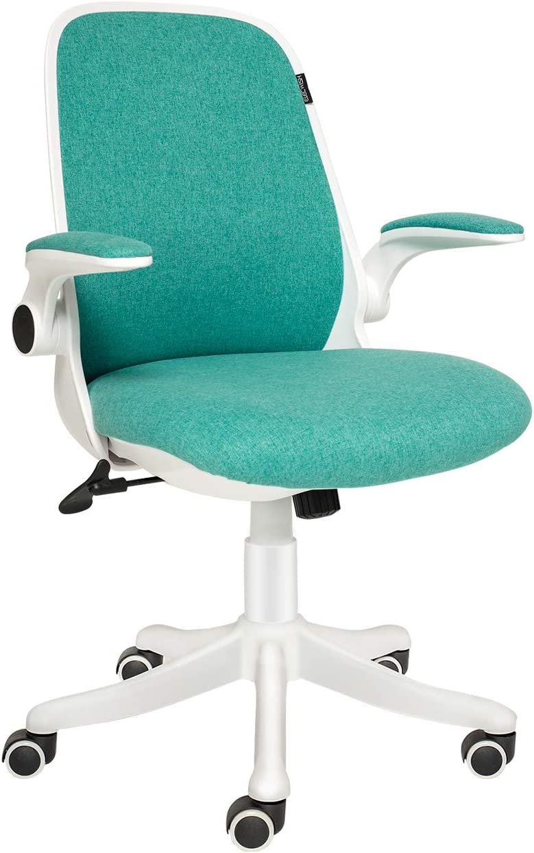 ELECWISH Office Chair Ergonomic Desk Chair Mid Mesh Back Swivel Seat Adjustable Lumbar Support Executive Chair with Flip up Armrests (Green)