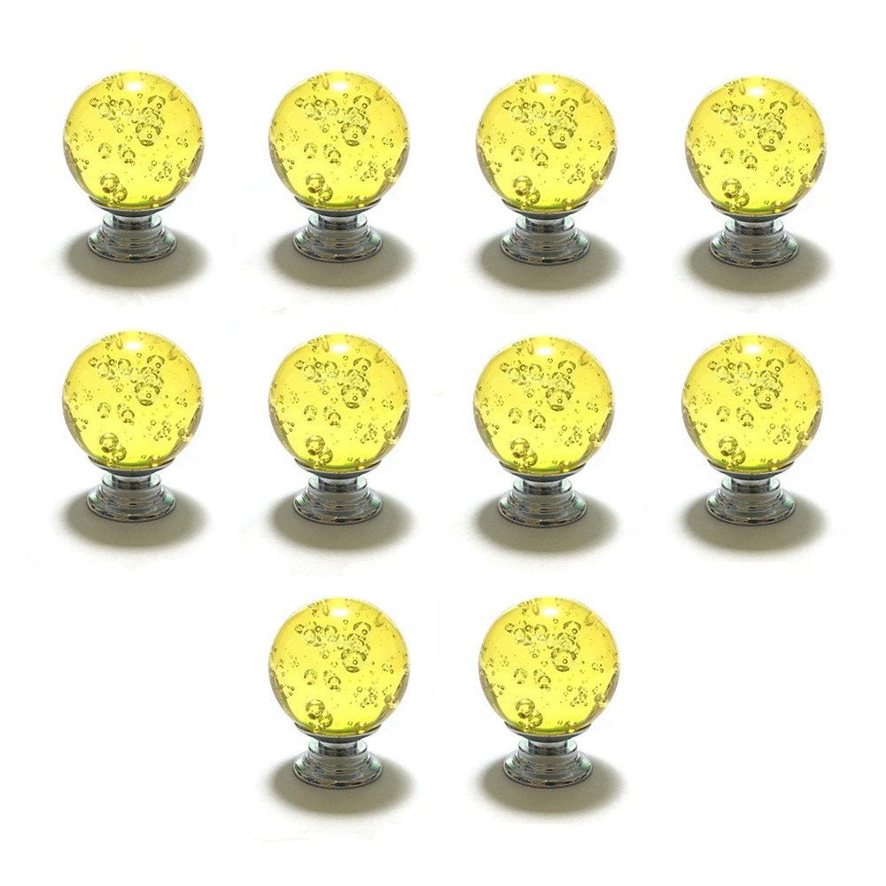 Hewnda 10pcs 30MM Bubbles Ball Crystal Glass Drawers Knob for Bathroom Cabinets Drawers Cupboard (Yellow)