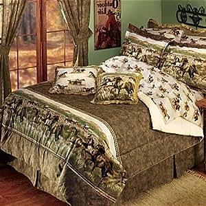 Amazon Com Wild Horses Western Queen Comforter Set Home