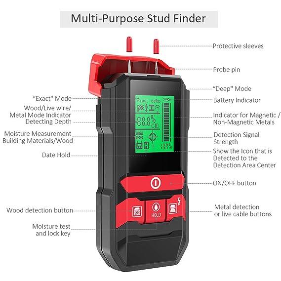 Detector de Pared, Meterk Multifuncional Electrónico Pinpoint Detector de Centro con LED/Advertencia Sonora para Madera/Metal/Cable de CA activo/Detección ...