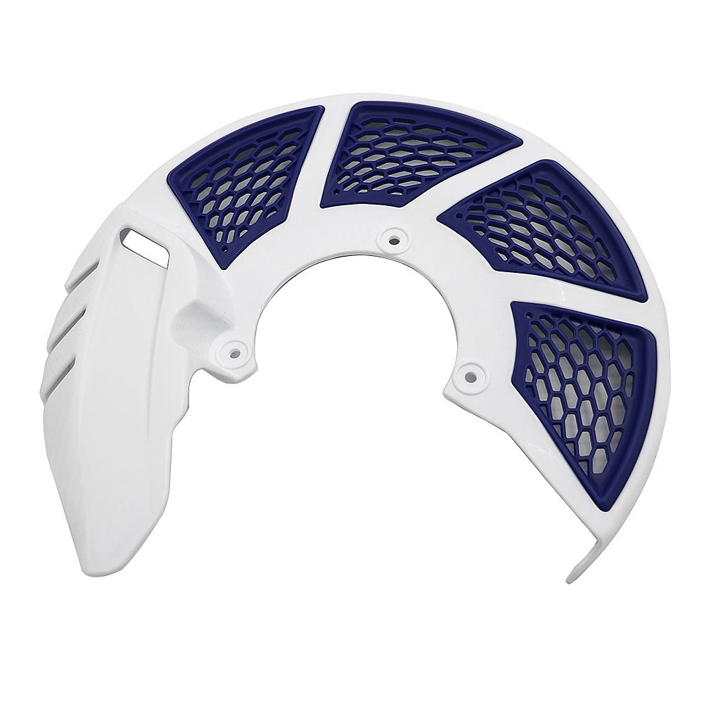 Alpha Rider Universal Front Brake Disc Rotor Protector Protection Cover White Guard Blue Net For Honda CR CRF, For Kawasaki KLX KX, For KTM SX/SX-F/XC/XC-F/EXC/EXC-F, For Yamaha YZ WR