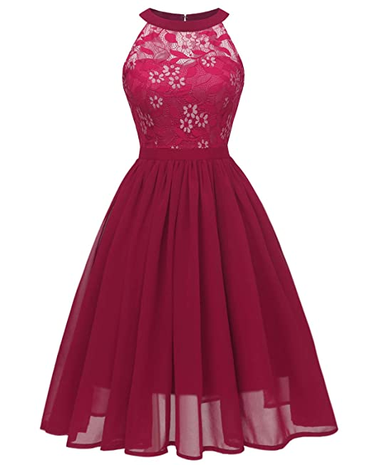 b1f166aadcbe Bright Deer Women Bridesmaid Floral Lace Cold Shoulder Midi Prom Dress   Amazon.co.uk  Clothing
