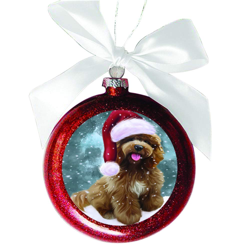 Let it Snow Christmas Holiday Cockapoo Dog Red Round Ball Christmas Ornament RBSOR48545