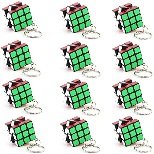 Lebbeen Party supplies keychain cube Mini Cubes Party Favors Cube Puzzle (12 Pack)