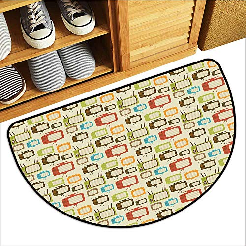 Axbkl Entrance Door mat Vintage Old Televisions Pattern in Retro Colors Antenna Electronics Entertainment Nostalgic Personality W30 xL18 Multicolor