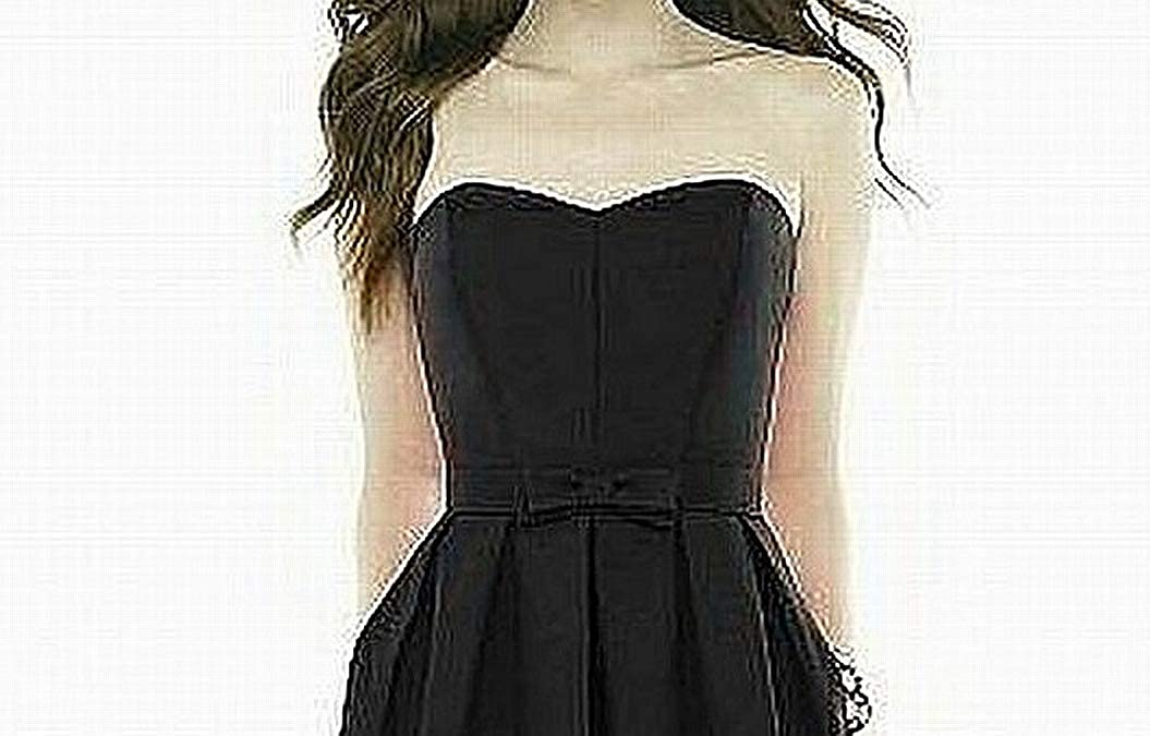 Size 6 Black Alfred Sung Dessy Womens Midi Length Strapless Peau De Soie Dress with Sweetheart Neckline