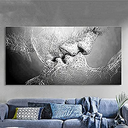 Beau Kicode Black And White Love Kiss Abstract Art Canvas Oil Painting Wall  Picture Print Living Room