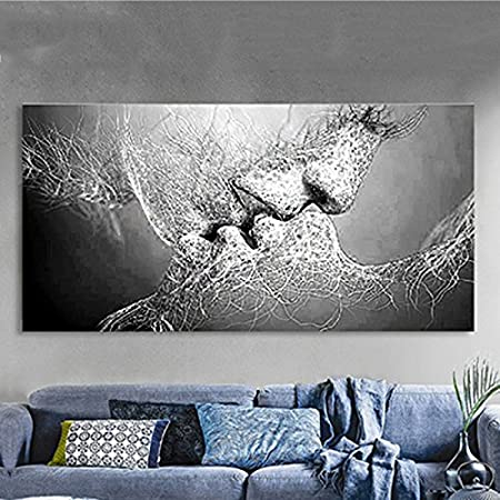 Kicode Black And White Love Kiss Abstract Art Canvas Oil Painting Wall  Picture Print Living Room