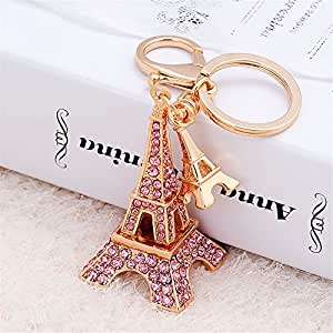 JewelBeauty 3D Cubic French Paris Eiffel Tower Shaped Bling Bling Metal Crystal Rhinestone Keychain Souvenir Holiday Gift Car Phone Purse Bag Decoration (Pink)
